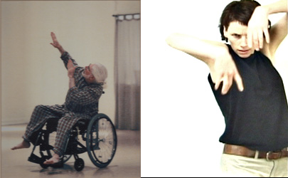 on the left, a white-haired dancer in a wheelchair and pajamas leans left while extending his hands, and on the right a standing dancer drapes her hands in front of her face