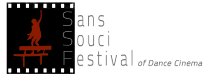 the SSF logo; a black box with filmstrip borders containing the silhouette of a woman tap dancing on a bench and the words Sans Souci Festival of Dance Cinema