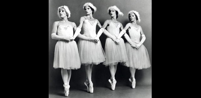 historic photo of male ballerinas on their toes