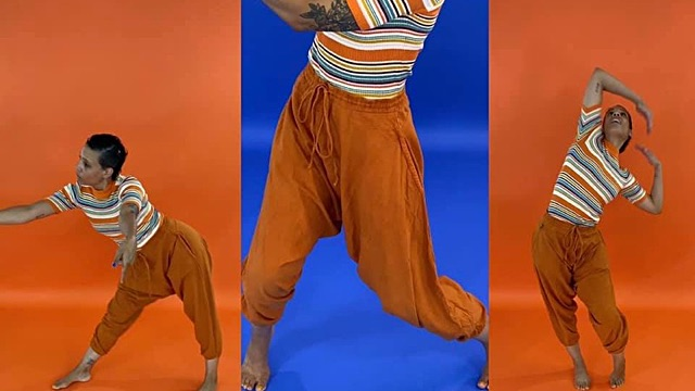a frame split in 3, with the same dancer in each frame in angular poses