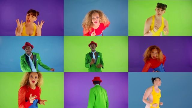 brightly colored images of dancers in a grid of squares, as if on a Zoom call